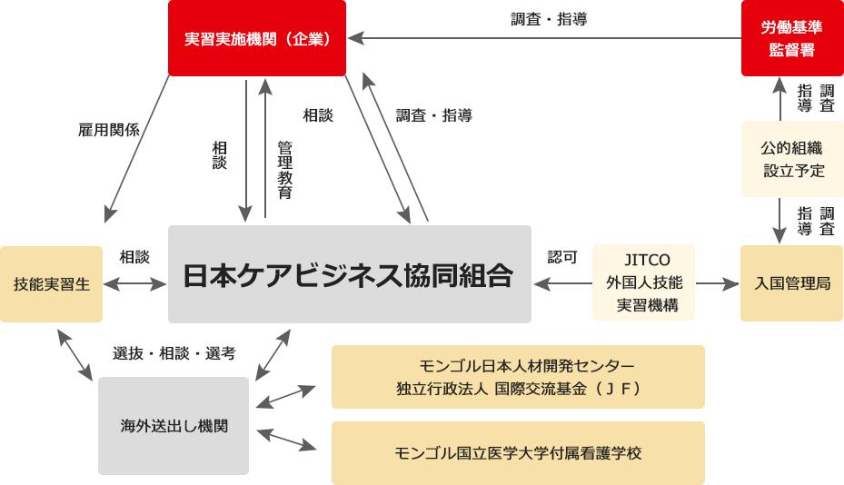 日本ケアビジネス協同組合はJITCOからの認可を受け、実習生の入国から帰国に必要な諸手続きを行います